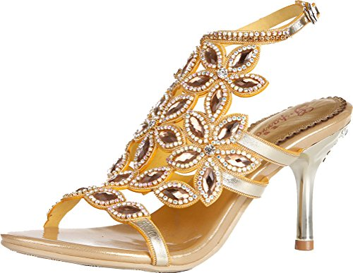 Salabobo L035 Womens Sexy Heels Sandals Glaring Rhinestone Beautiful Pretty Performance Stilettos Wedding Dress Bride Bridemaid Party Work Job Leisure Shoes Gold(st) vG2rS7s