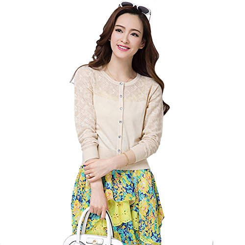 (ワンース) Wansi レディース カーディガン ニット 軽量 蒸れない ニットウェア 上着 薄い 夏服 ショート丈 クルーネック エアコン対策 透かし彫り 柔らか 快適 淑女 綺麗 ゆったり アウトドア ベージュ L