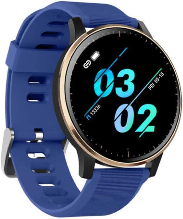 AAA&LIU 2020 Smart Watch Hombres Mujer Impermeable Ip67 Fitness Tracker Monitor de Ritmo cardíaco de presión Arterial Reloj Smartwatch para Android iOS, Silicona Azul