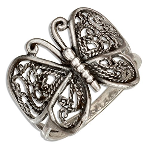 Sterling Silver Antiqued Filigree Butterfly Ring (size 06) (Antiqued Filigree Butterfly Ring)
