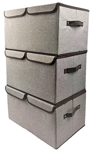 ([3-Pack, Double Grid Large] Durable Storage Bins, Containers, Boxes, Tote, Baskets| Collapsible Storage Cubes For Nursery Household Organization | Declutter Shelf Closet | Dual Handle | Offices Drawer )
