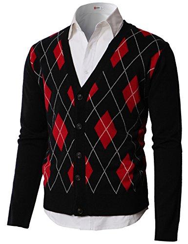 H2H Men's Raker Stitch Argyle V-Neck Sweater Cardigan Black US L/Asia XL (KMOCAL0189)
