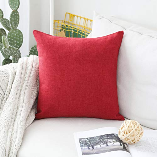 Home Brilliant Decorative Supersoft Linen Square Throw Toss Pillow Cushion Cover for Bed, Burgundy, 18x18 inch(45x45cm) from Home Brilliant