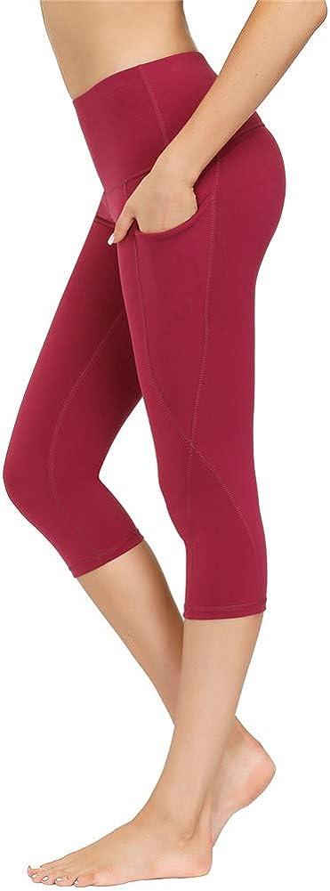 Icecornorno Donna Pantaloni Di Yoga A Vita Alta Allenamento In Esecuzione Pantaloncini Di Controllo Pancia Elastico Morbidi Leggings Con Tasca Laterale