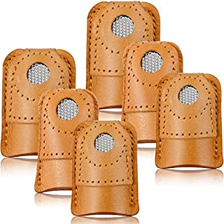 WILLBOND 6 Pieces Sewing Thimble Finger Protector Leather Coin Thimble Pad Thimble Cover for Knitting Sewing Quilting Pin Needles Craft Accessories DIY Sewing Tools, 3 Sizes
