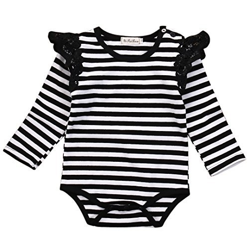 Newborn Baby Bodysuit Long Sleeve Striped Lace Rompers Girls Jumpsuit Clothes (0-6 Months) Long Sleeve Striped Onesie