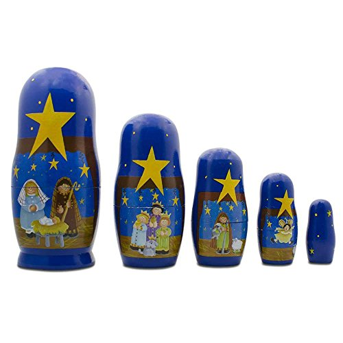 BestPysanky Set of 5 Nativity Scene Set Wooden Nesting Dolls 5.75 Inches