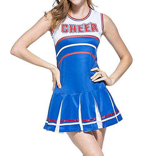 Ladies Sexy Varsity High School Cheer Girl Sexy Cheerleader Costume Uniform Halloween Fancy Dress Costume]()