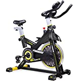 pooboo Indoor Cycling Bicycle, Belt Drive Indoor Exercise Bike,Stationary Exercise LED Display Bicycle Heart Pulse Trainer Bike Bottle Holder