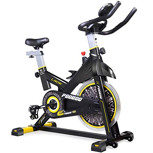 pooboo Indoor Cycling Bicycle, Belt Drive Indoor Exercise Bike,Stationary Exercise LED Display Bicycle Heart Pulse Trainer Bike Bottle Holder - Stationary Recumbent Bicycle