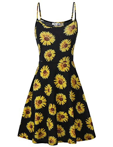 FINMYE Fit and Flare Dress,Round Neck Girls Summer Dress Petite Clothes Daisy - Summer Daisy