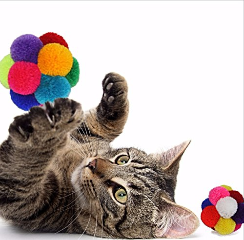 Goli Design Catomic - Catnip Infused Pom Pom Ball Cat Toy (2 (Balls 2 Pack Cat Toy)