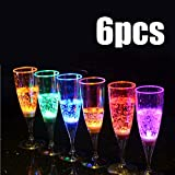 BoTen 6PCS Fizzy Goblet LED Water Sensor Light Cups New Strange Creative Products Party Goblets
