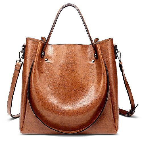 Bucket Shoulder Bag (Mn&Sue 3-Way Large Bucket Shoulder Tote Bag Women Top Handle Satchel PU Leather Hobo Handbags (Brown))