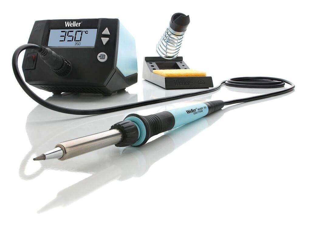 Weller Professional WE 1010 (T0053298399) 70W/230V WE Digital Soldering Station Kit with UK Plug Temperature Range 100°C – 450°C, 70 W, 230 V, Blue