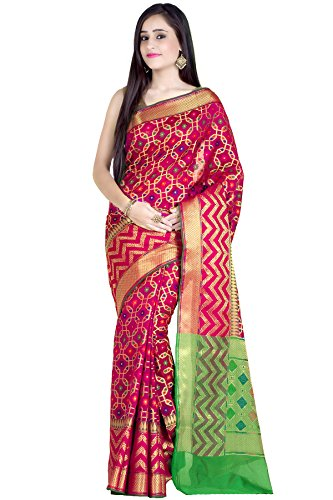 Chandrakala Women's Red Cotton Silk Banarasi Saree(1242RED) by Chandrakala (Image #1)