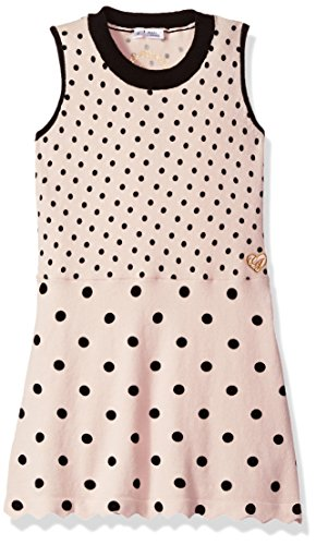 GUESS Girls' Little Sleeveless Dotted Sweater Dress, Black Light Pink, 4