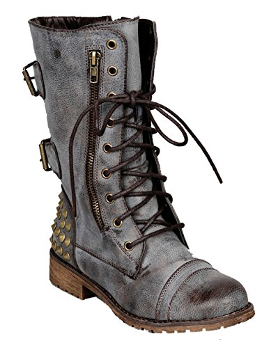 Nature Breeze Harley 12 Womens Military Lace up Buckle Combat Boot Brown 11