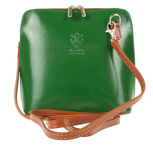 Saile's - Cross Leather Bag For Green And Light Brown Woman