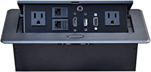 Table Pop up Power Date Center Connection Box with Outlet Network HDMI for Conference desk