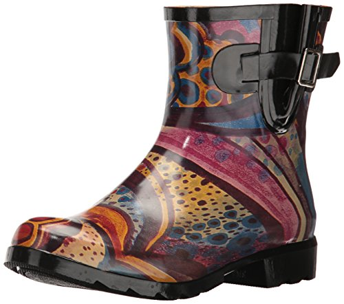Nomad Women's Droplet Rain Boot, Turquoise Monet, 9 M US