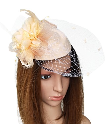 Coolwife Fascinator Hats Pillbox Hat British Bowler Hat Flower Veil Wedding Hat Tea Party Hat (Peach/Champagne) by Coolwife
