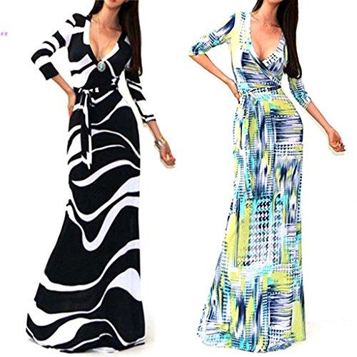 YJWAN Ladies Sexy 3/4 Sleeve Deep V Neck High Waist Floor Length Evening Dress