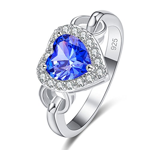 Emsione Created Tanzanite 925 Sterling Silver Plated Ring for Women