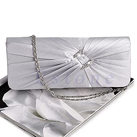 360d70f30c JAGENIE sera borsetta borsa da donna con strass catena spalla pochette da  sposa, Satin,