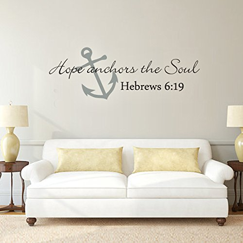 Scripture Wall Decal- Anchor Wall Decal- Hope Anchors The Soul Wall Decal Bible Verse Wall Sticker Art A(X-Large,Anchor:Slate Gray;Words:Black)