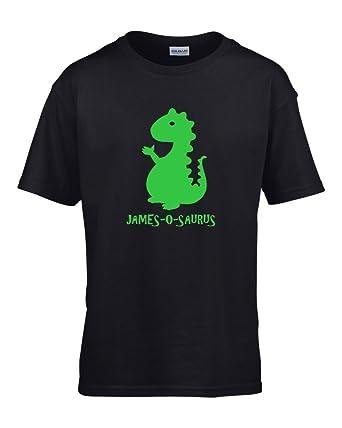 1c4e02e7 Personalised Adults Black T-Shirt with Dinosaur Image and Dinosaur Name:  Amazon.co.uk: Clothing