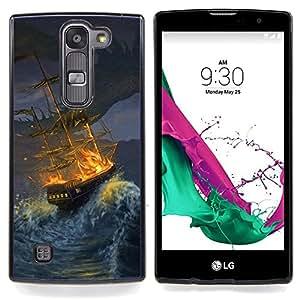 - Ship Storm Pirate Seas Waves Night Painting - Caja del tel????fono delgado Guardia Armor- For LG Volt 2 / LG G4 Mini (G4c) Devil Case