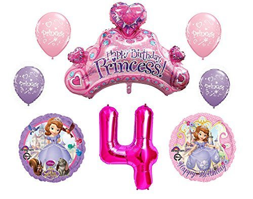 Disney's Sofia the First 4th Happy Birthday Party Balloons Decorations Supplies Bundle -
