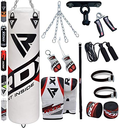 RDX Punch Bag Filled Set Kick Boxing MMA Heavy Training Gloves Punching Mitts Hanging Chain Ceiling Hook Muay Thai 13PC Martial Arts 4FT 5FT