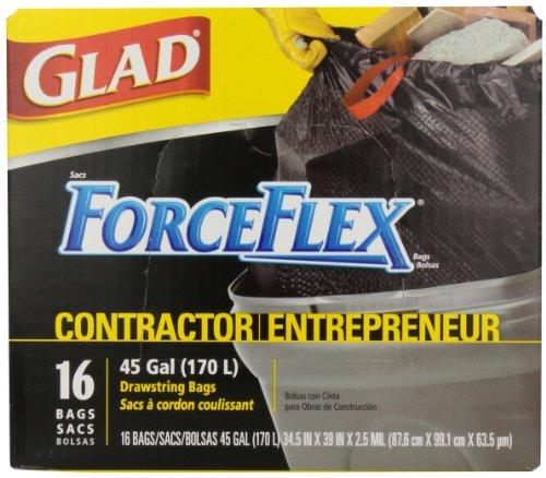Glad ForceFlexTie' n Toss Contractor Garbage Bags, 16 count