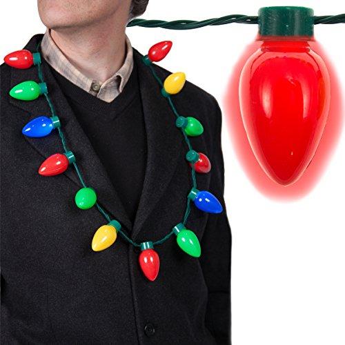 [LED Light Up Christmas Bulb Necklace String Light Party Favors for Adults or Kids Holiday Xmas] (Light Up Costumes For Adults)