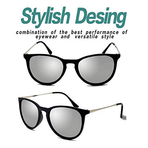Gafas Polarized para UV400 Vintage y BLEVET mujeres Plateado hombres sol de BE001 qREdqCw