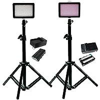 Julius Studio 160 LED, including (2) 160 Dimmable Ultra High Power Panel Digital Camera DSLR Camcorder LED Video Light (2)28 Tall Studio Light Stand JGG2288