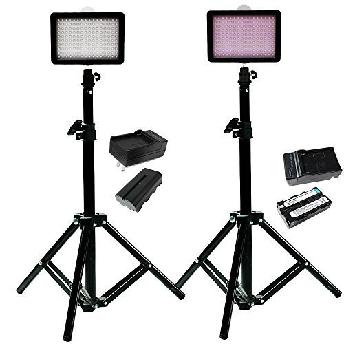 Julius Studio 160 LED, including (2) 160 Dimmable Ultra High Power Panel Digital Camera DSLR Camcorder LED Video Light (2)28 Tall Studio Light Stand JGG2288
