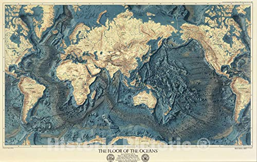 Wall Map, World - Ocean Floors and Land Relief. 1976 | Vintage Wall Art | 36in x ()