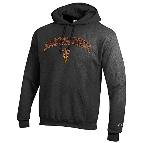 Elite Fan Shop Arizona State Sun Devils Hooded Sweatshirt Varsity Charcoal - M (Devils Mens Sweatshirts)