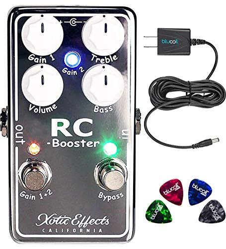 Effects Booster Ac Xotic (Xotic RC Booster V2 Effects Pedal for Electric Guitars Bundle with Blucoil Power Supply Slim AC/DC Adapter for 9V DC 670mA and 4-Pack of Guitar Picks)