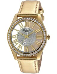 Kenneth Cole Womens Gold-Tone Steel See Thru Watch Leather Band KC2828