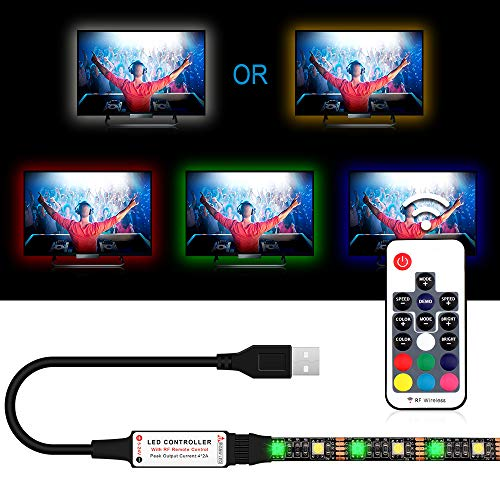 USB LED Strip Lights, RGB+White with RF Remote Controller, IP65 Waterproof Flexible Strip Light, 5050 RGBW TV Backlight 2M (6.56FT)