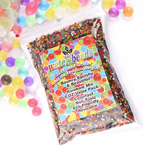 AINOLWAY 8oz Water Gel Beads Rainbow Mix Jelly Crystal Balls for Kids Tactile Toy and Planting Flowers Dcor