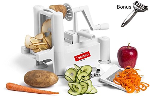 Heavy Duty Spiral (Semzaro Spiral Vegetable Slicer 2018 as Seen on Food Network TV Heavy Duty Plastic Spiralizer With 5 Different Blades Made of Stainless Steel with EXTRA Peeler For Vegetable And Fruits)
