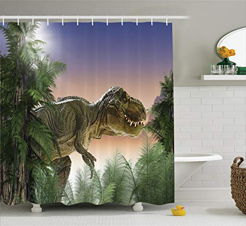 (Ambesonne Dinosaur Shower Curtain Set, Jurassic Decor T-rex in The Jungle Trees Forest Nature Woods Scary Predator Violence Picture, Fabric Bathroom Decor with Hooks, Green Beige Blue)