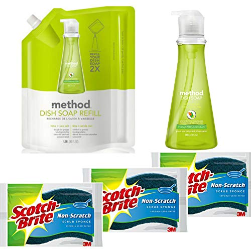 oap Bundle with 18 oz. Dispenser, 36 oz. Refill and 3 Scotch-Brite Sponges | Naturally Derived Dish and Hand Soap (Lime + Sea Salt) ()