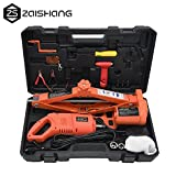 ZS 3Ton (6600lb) Auto Electric Car Scissor Lift Jack with Impact Wrench Tire Repair Tools Kit 12V DC (Orange)