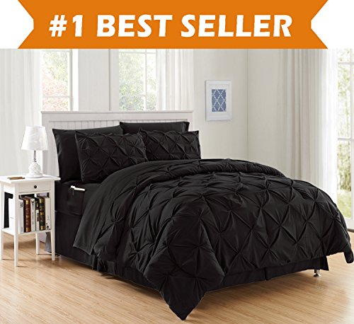 Luxury Best, Softest, Coziest 8-Piece Bed-in-a-Bag Comforter Set on Amazon! classy leve - Silky very soft done Set comprises of Bed page Set along with ambigu Sided storage area Pockets, King/Cal King, Black
